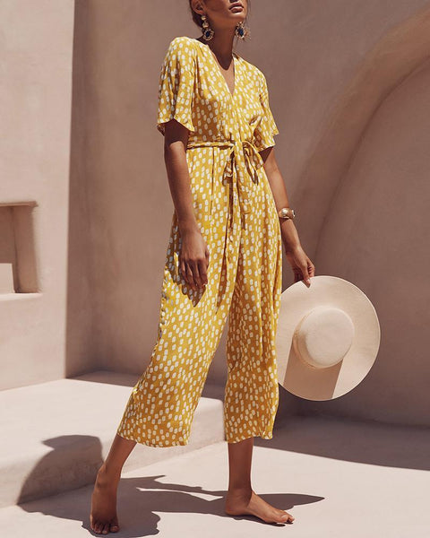 V-Neck Belt Polka Dot Printed Jumpsuit