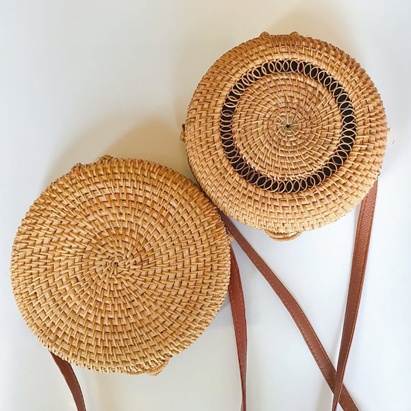 Handmade rattan hollow surface mini single shoulder oblique span round bag