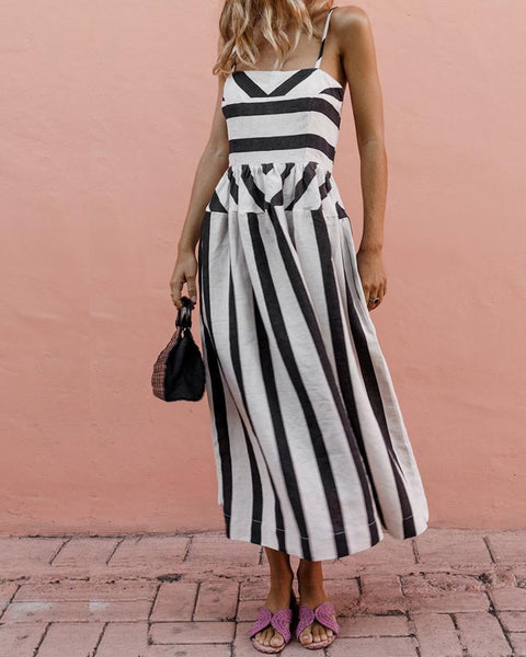 Sling Stripe Printed Casual Street Dress