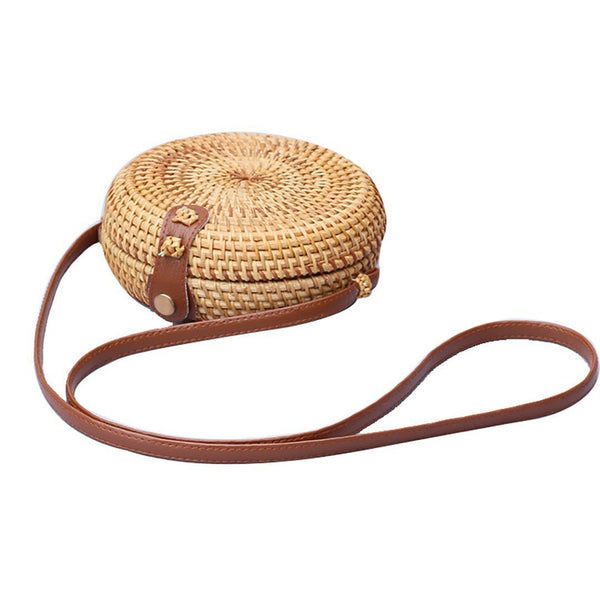 Female Handmade Exotic Style Rattan Collection Single Shoulder Bag