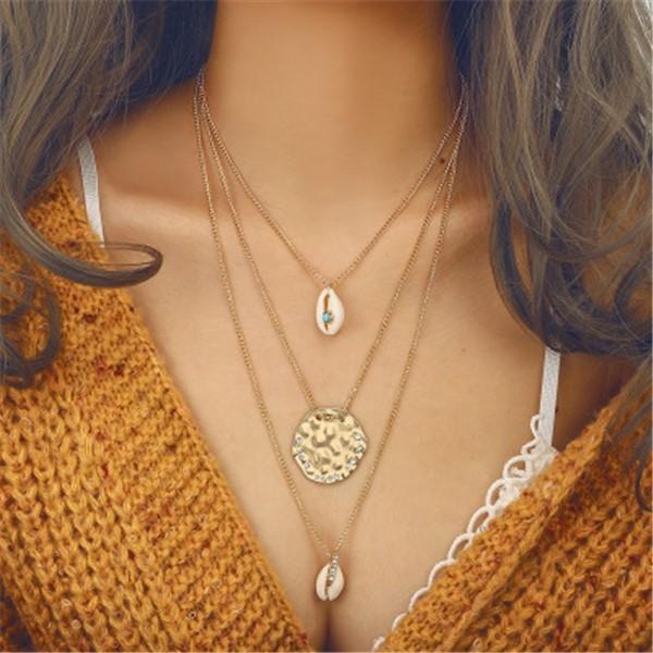 Fashion Vintage Ethnic Style Shell Pendant Alloy Necklace