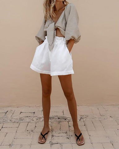 Puff Sleeve Bow Tie Shorts Set
