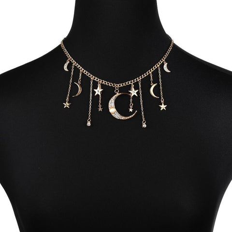Fashion Vintage Alloy Crystal Star Moon Pendant Short Necklace
