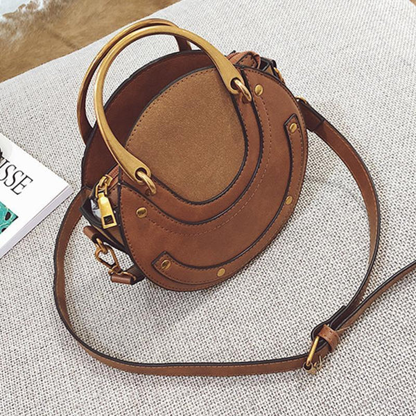 New Wild Scrub Rivet Ring Small Round Bag Shoulder Bag Messenger Bag