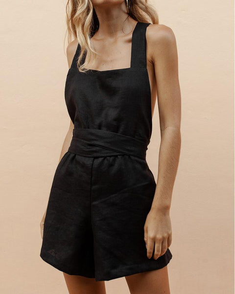 Linen Cross Strap Backless Bow Shorts Jumpsuit