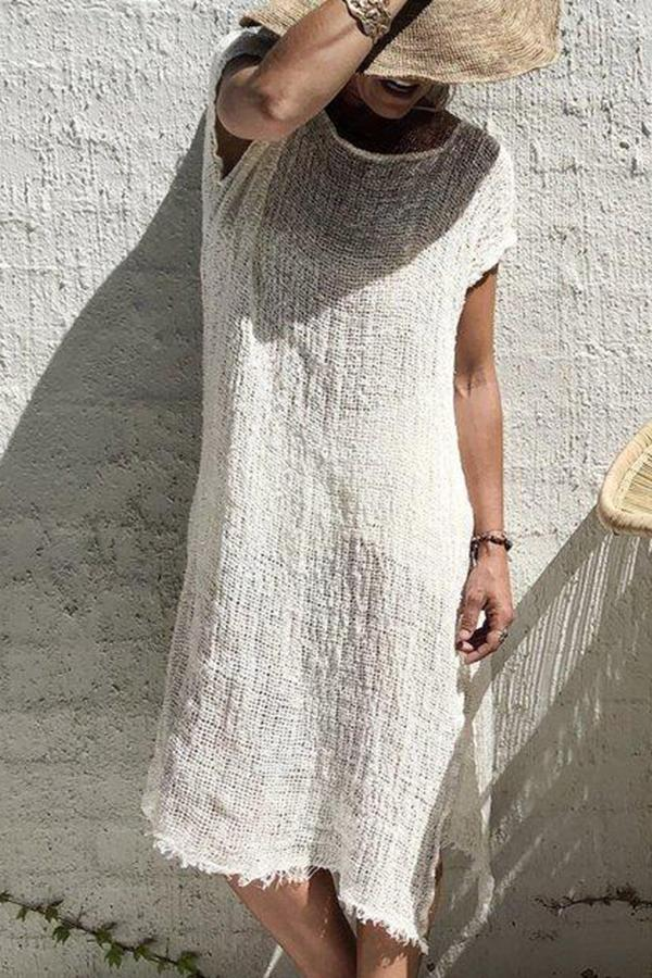 Casual Solid Color Split Round Neck Short Sleeve Loose Dress