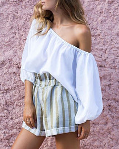 Sexy Off-Shoulder Striped Shorts Suits