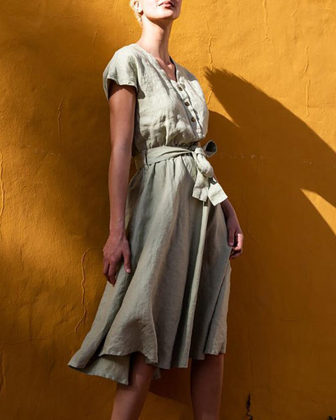 V-Neck Button Belt Linen Dress