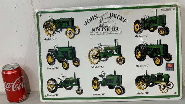 John Deere Metal Tractor Models Sign