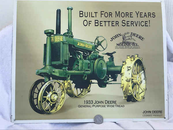 John Deere 1933 General Purpose Tractor Sign