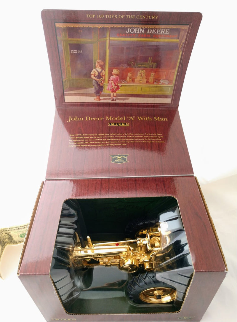 Gold John Deere Model A Toy Tractor