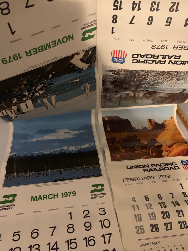 Burlington Northern and Union Pacific Railroad Calendars