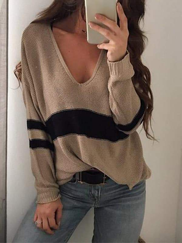 Chloebuy Sexy V-neck Knitting Sweater