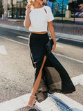 Chloebuy Casual Solid Long Skirt