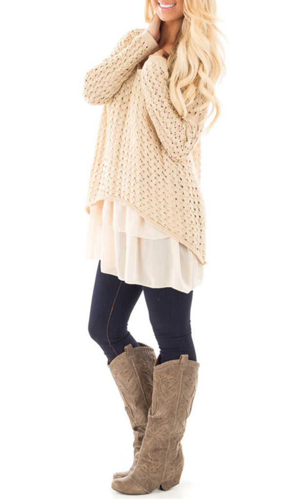 Chloebuy Beige Coarse Weave V-neck Sweater