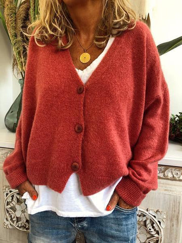 Chloebuy Fall Casual Button Long Sleeve Sweater