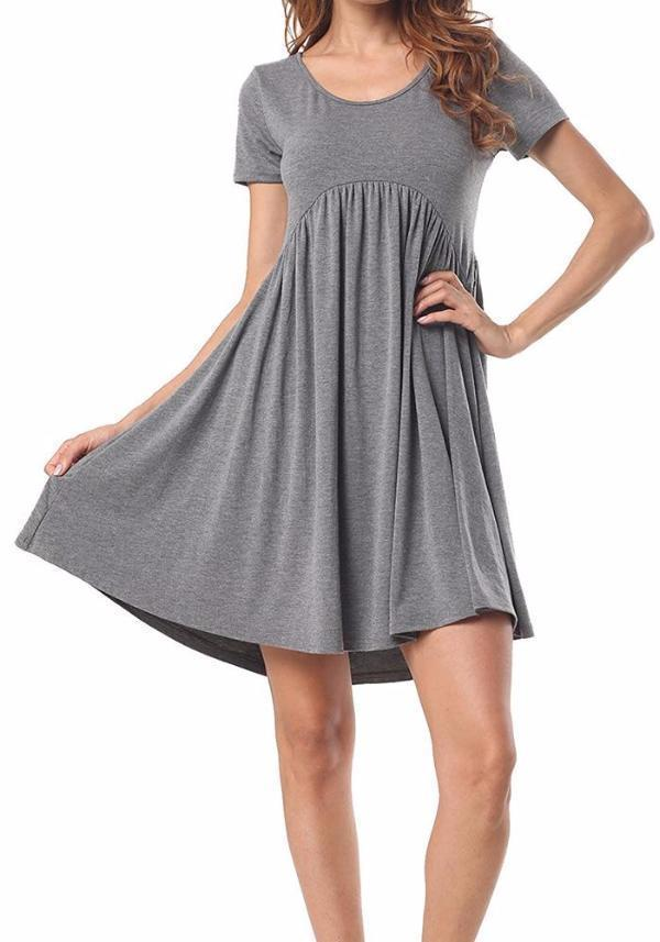 Chloebuy Round Neck Short Pleated Dress