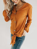 Chloebuy V-Neck Button Casual Top
