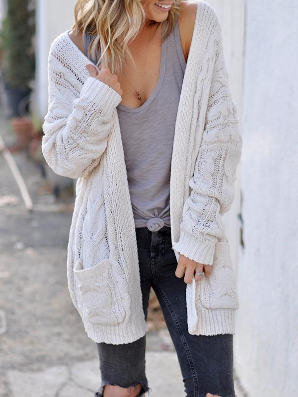 Chloebuy Long Sleeve Loose Knit Cardigan Sweater