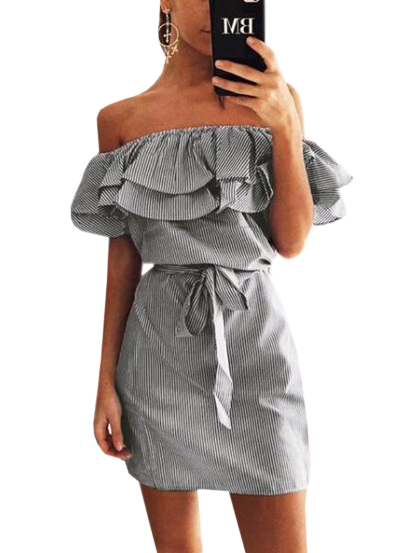 Chloebuy Off Shoulder Ruffles Striped Dress
