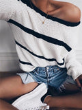 Chloebuy Women Casual Striped Pullover