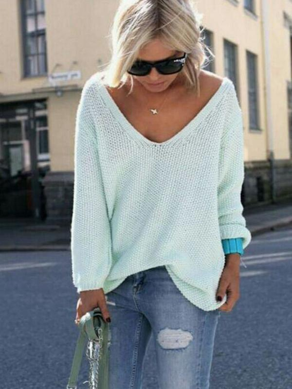 Chloebuy Wide V Neck Over-Sized Sweater