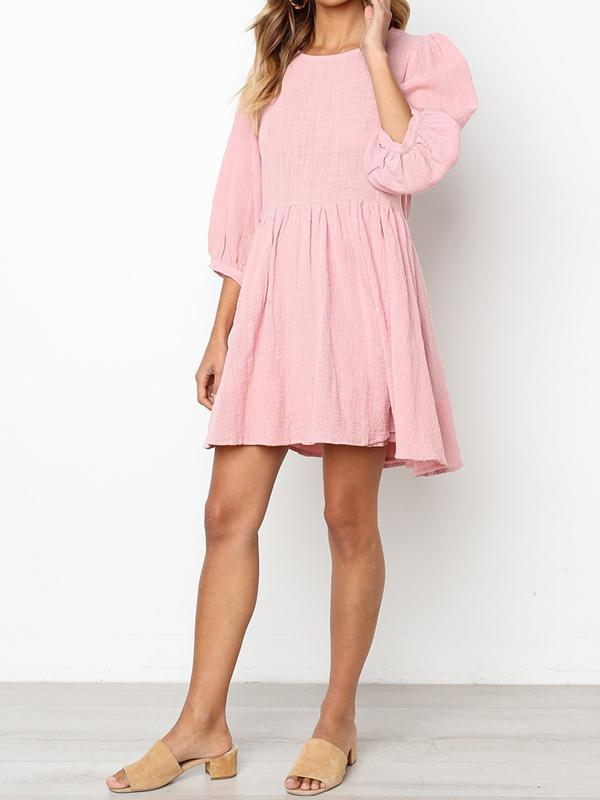 Chloebuy Solid Losse Casual Dress