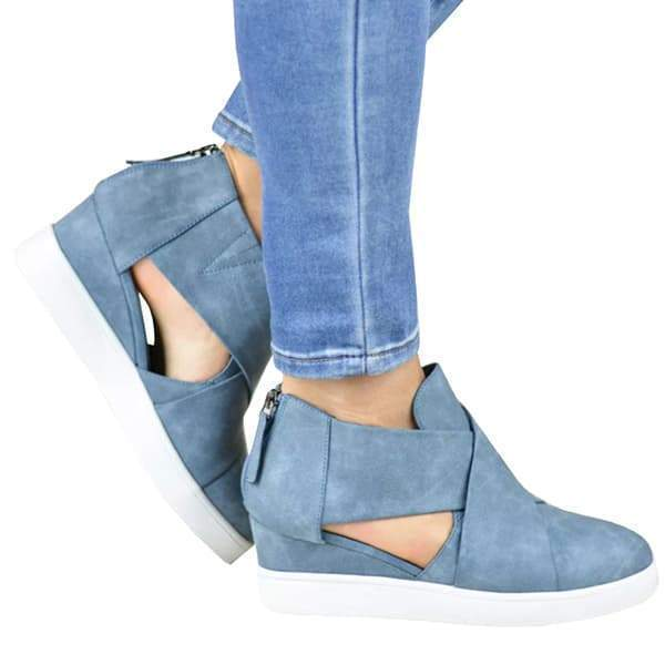 Chloebuy Criss-cross Cut-out Wedge Sneakers