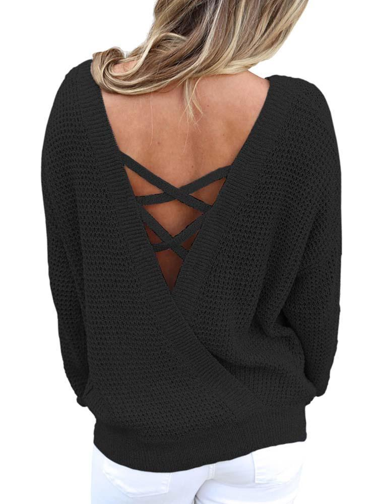 Chloebuy Hollow Out Back Lace Knit Sweater - Chloebuy