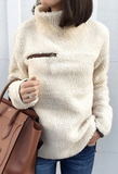 Chloebuy High Neck Zipper Cashmere Sweatshirt