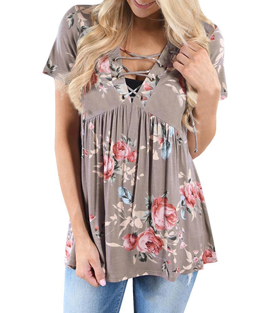 Chloebuy Lace Up V-neck Pleated Blouse