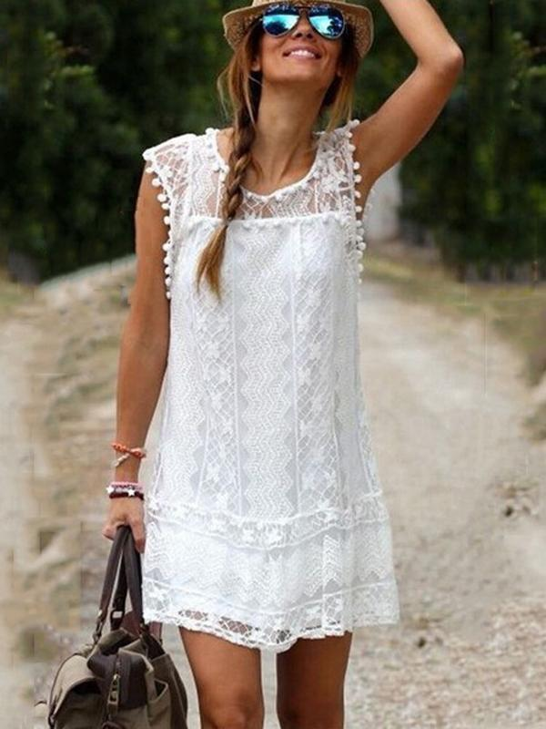 Chloebuy Lace Hollow Out Short Dress