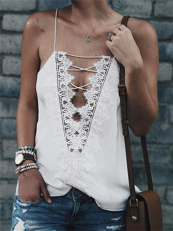 Chloebuy Lace Criss Cross Camisole
