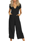 Chloebuy Casual Solid V-Neck Rompers