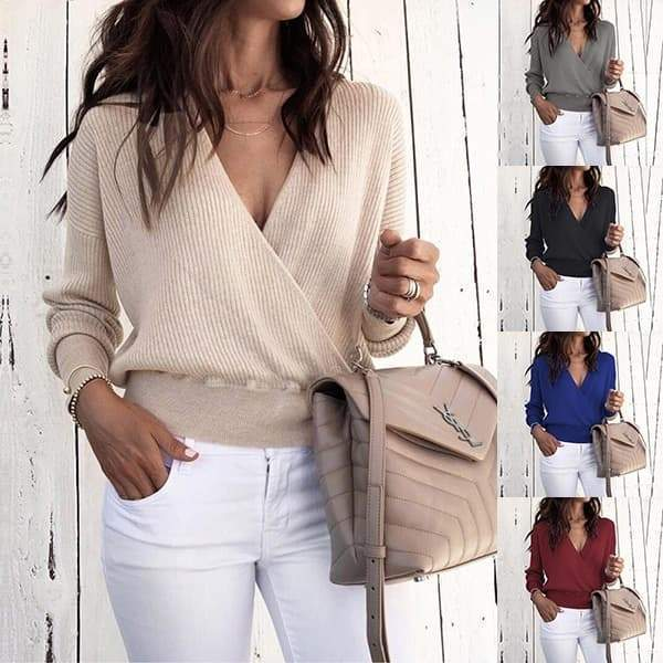 Chloebuy Deep V Long Sleeve Pure Color Sweater