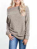 Chloebuy Cold Shoulder Long Sleeve Pullover