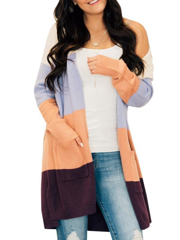 Chloebuy Color Block Long Sleeve Knit Cardigan Sweater