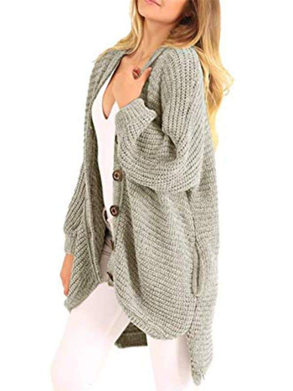 Chloebuy Boyfriend Long Cable Knit Cardigan