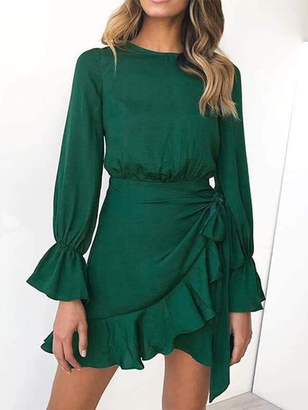 Chloebuy Casual Solid Lace Up Dress