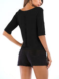 Chloebuy Casual Knitted Solid Top