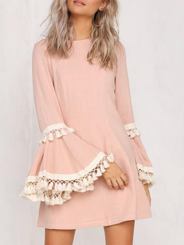Chloebuy Fringed Horn Sleeve Dress