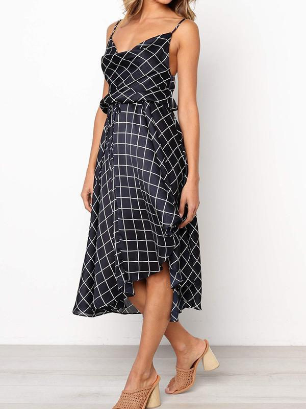Chloebuy Classic Plaid Sleeveless Dress
