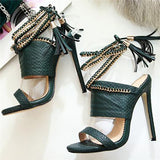 Chloebuy Chain Bandage Double Tassel Stiletto Sandals