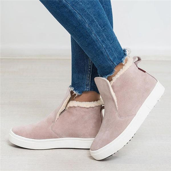 Chloebuy Warm Winter Fur Lining Flat Ankle Boots