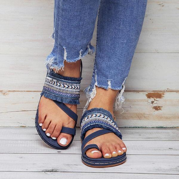 Chloebuy Fashion Casual Fringed Beach Sandals