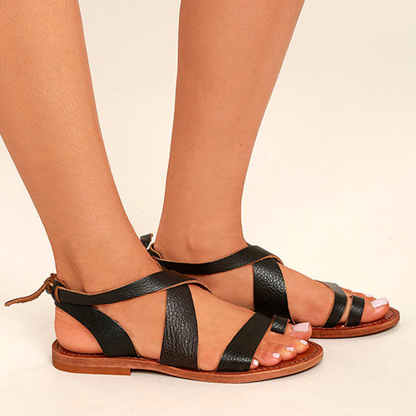 Chloebuy Dark Adjustable Buckle Casual Flat Heel Sandals