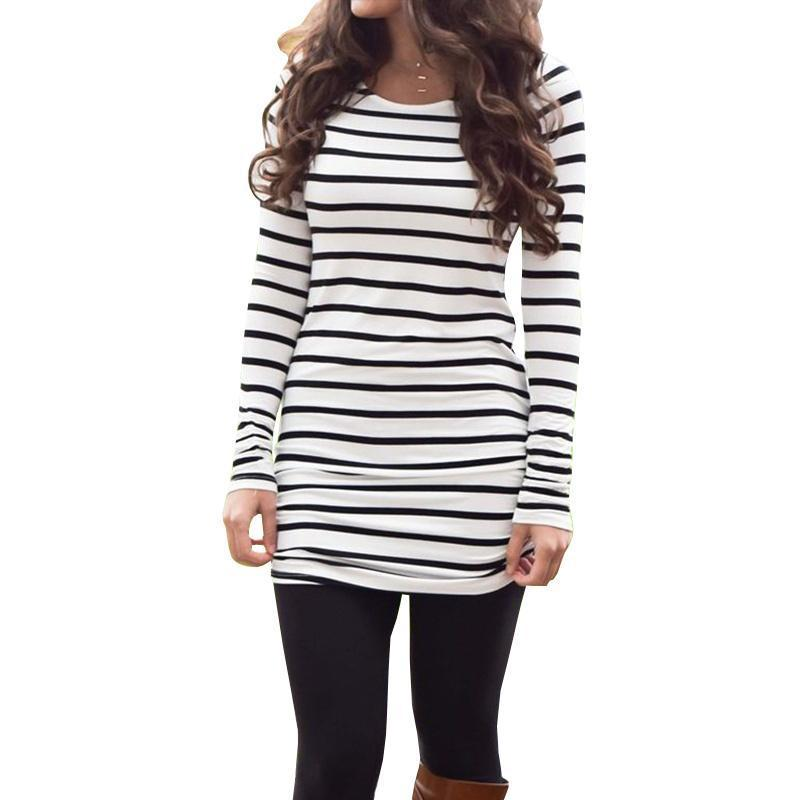 Chloebuy Long Sleeve Striped Shirt