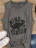 Chloebuy Dinosaur O-neck Casual Tank Top