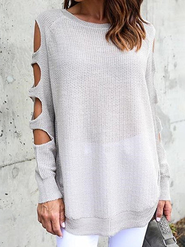 Chloebuy Round Neck Arm Hollow Long Sleeve Sweater