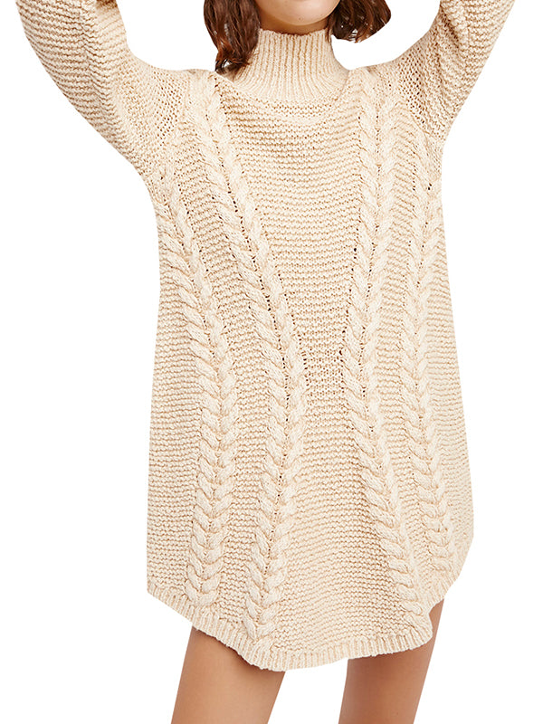Chloebuy High Collar Long Sleeve Solid Sweater